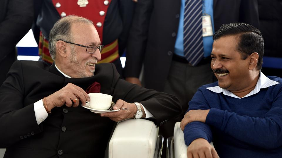 Lt Governor Anil Baijal and Delhi chief minister Arvind Kejriwal in New Delhi.