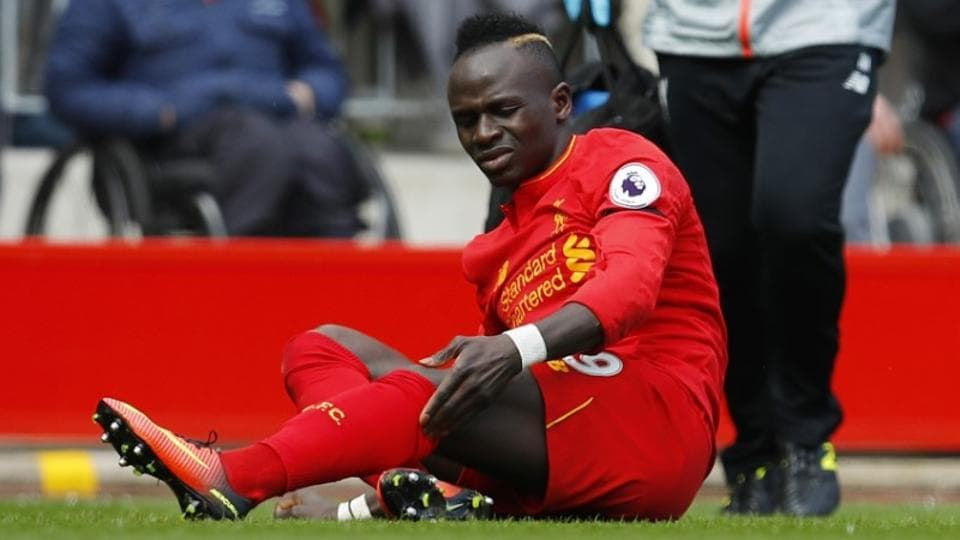 Liverpool's Sadio Mane after sustaining an injury during their Premier League match.