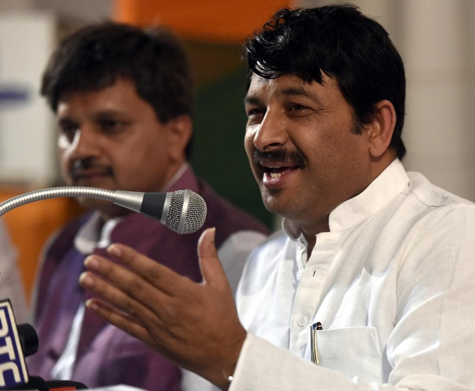 Delhi BJP president Manoj Tiwari at a press conference in Delhi on Tuesday.