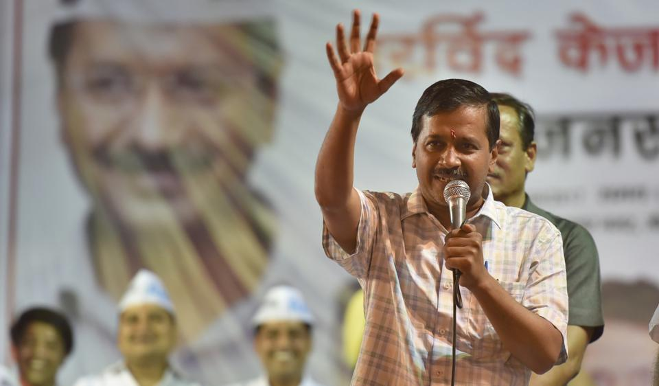 Delhi chief minister Arvind Kejriwal addresses an election campaign rally at Gonda in northeast Delhi on Saturday.