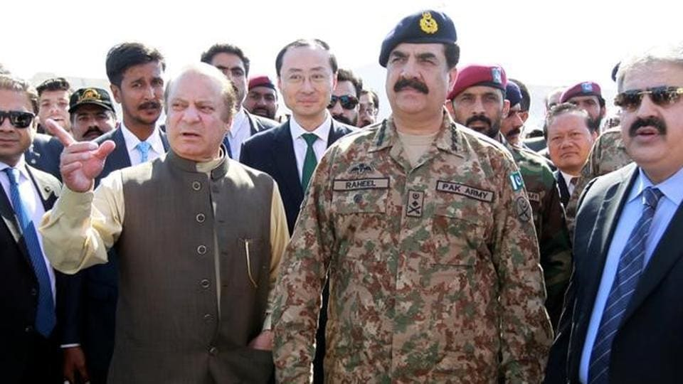 Pakistan's Prime Minister Nawaz Sharif with then army chief Gen Raheel Sharif during the inauguration of the China Pakistan Economic Corridor port in Gwadar on November 13, 2016.