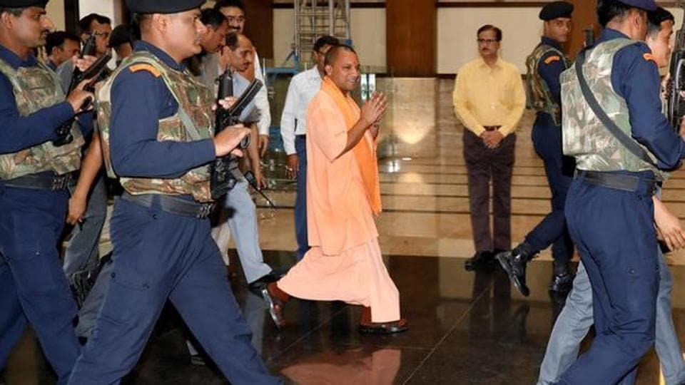 Uttar Pradesh chief minister Yogi Adityanath arrives to attend his first cabinet meeting at Lok Bhavan in Lucknow on Tuesday.