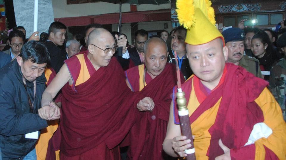 Tibetan spiritual leader the Dalai Lama arrives in Bomdila in West Kameng district of Arunachal Pradesh on Tuesday.