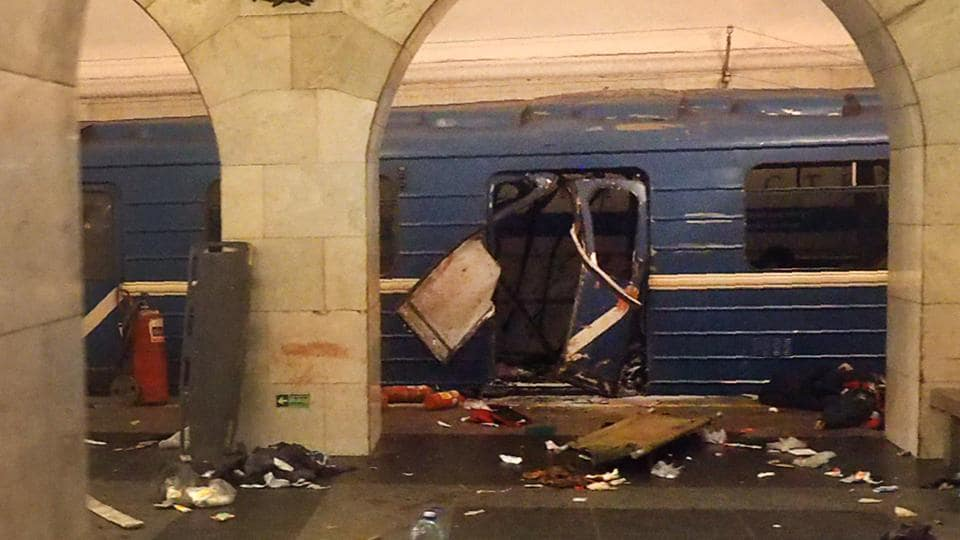 The damaged train carriage at the Technological Institute metro station in St Petersburg.