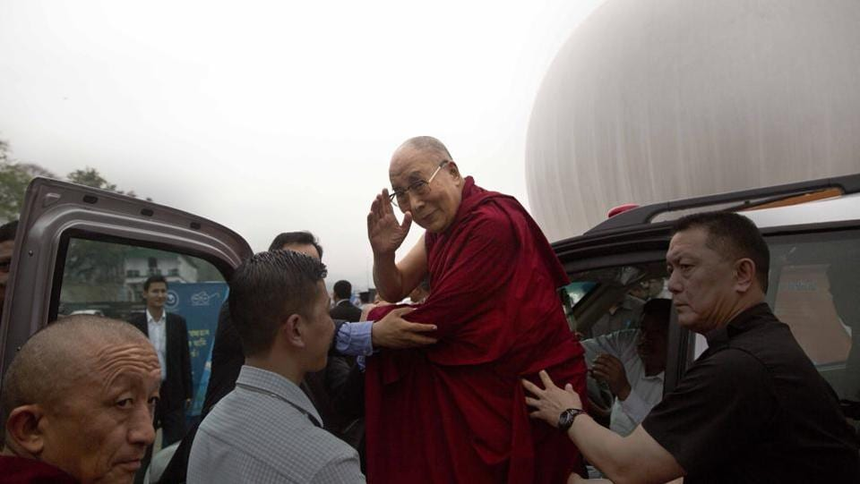 The 81-year-old Dalai Lama is travelling by road, his first stop will be Bomdila, 180km short of Tawang, where he is expected on April 6. (Anupam Nath / AP)