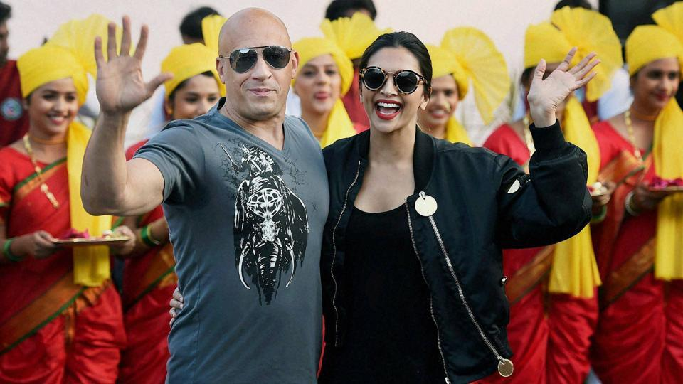 Vin Diesel with Deepika Padukone at Mumbai airport during the promotion of their film XXX: Return of Xander Cage in January this year.