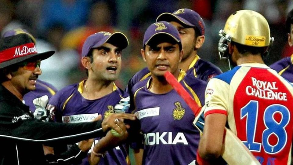 Royal Challengers Bangalore's Virat Kohli and Kolkata Knight Riders' Gautam Gambhir argue during a game in  the 2008 Indian Premier League.