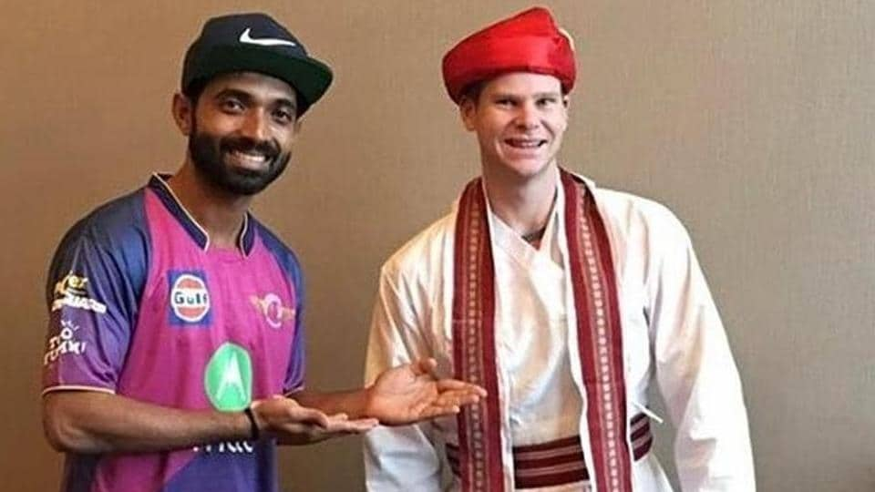 Ajinkya Rahane with Rising Pune Supergiant (RPS) captain Steve Smith ahead of the Indian Premier League.