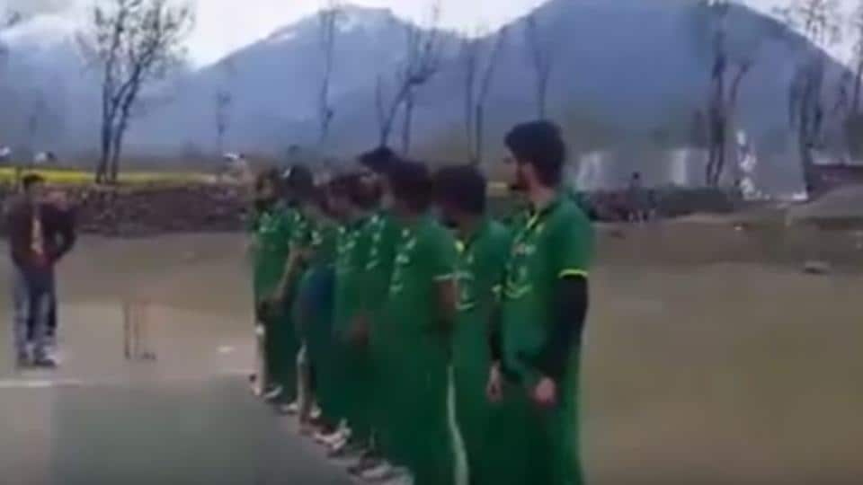 A video grab showing players of a cricket club in Kashmir wearing the jersey of the Pakistan national team.