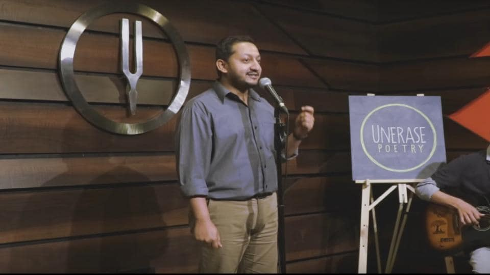 Poet Sudeep Pagedar performing The Privileges of a Penis at Tuning Fork.