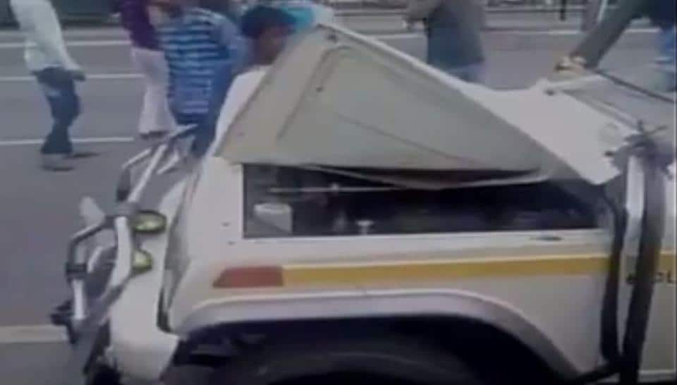 A screenshot from one of the videos that purportedly shows men beat up a vehicle after  attacking its driver over suspicions of cow smuggling and slaughter.