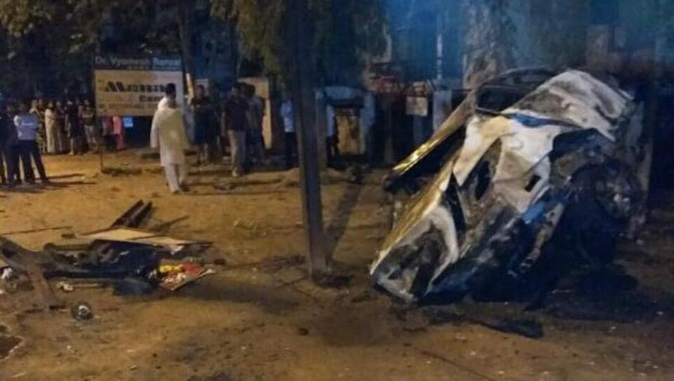 The mangled remains of the car which had overturned after hitting an electricity pole in Ghaziabad on Wednesday morning.