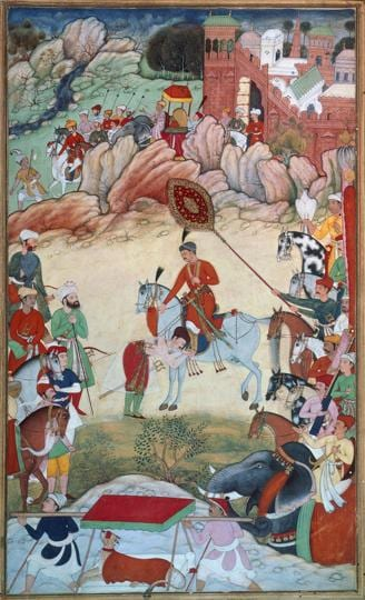 Adham Khan paying homage to Akbar at Sarangpur, ca 1586-ca 1589 in a  miniature from the Akbarnama (Book of Akbar), by Khem Karan (active ca 1580-ca 1605). London, Victoria And Albert Museum.