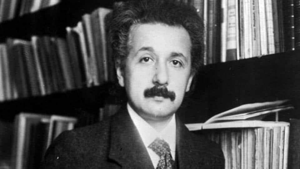 German born mathematical atomic physicist Albert Einstein (1879 - 1955).