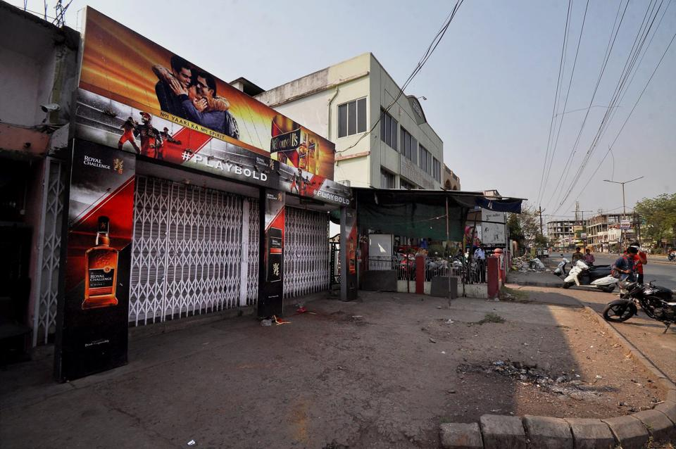 A closed liquor shop following the directive of the Supreme Court to shut liquor vends located within 500 meters of national and state highways in Nagpur, Maharashtra on Sunday.