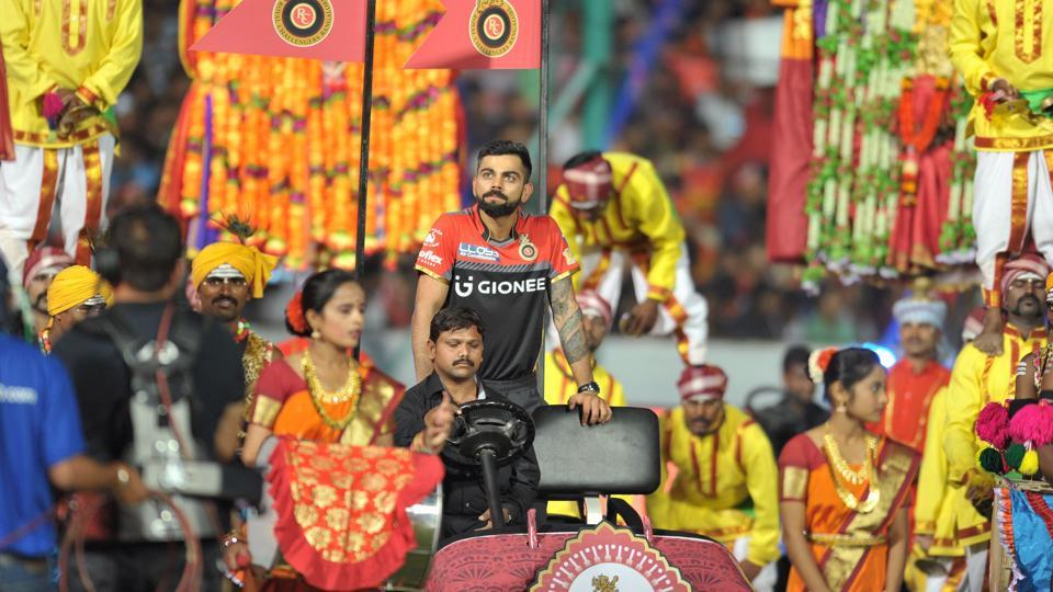Royal Challengers Bangalore captain Virat Kohli (C) attends the opening ceremony of the 2017 Indian Premier League (IPL). (AFP)