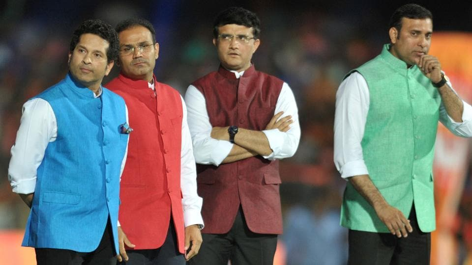 (L-R) Sachin Tendulkar, Virender Shehwag, Sourav Ganguly and VVS Laxman look on during the opening ceremony of the 2017 Indian Premier League (IPL). (AFP)