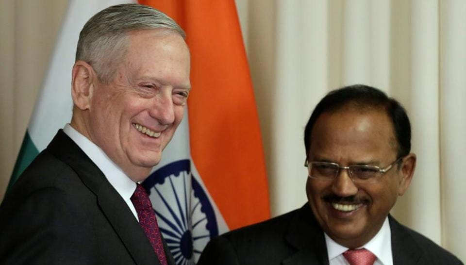 US Defense Secretary James Mattis (L) welcomes Ajit Doval, National Security Advisor, before their meeting at the Pentagon in Washington on March 24.