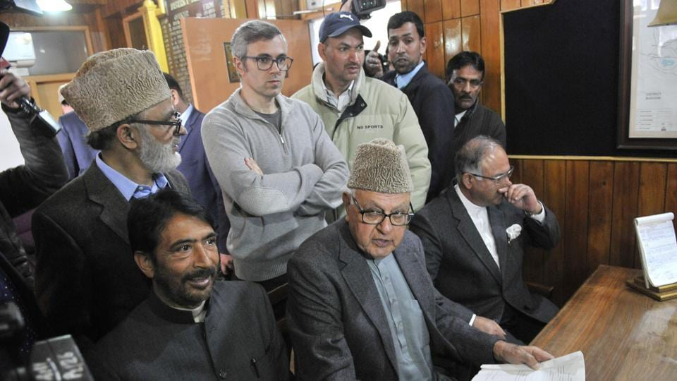 National Conference president Farooq Abdullah filling his nomination paper for parliamentary elections in Srinagar  March 20. On Wednesday, Abdullah backed stone pelters saying they were fighting for the nation.