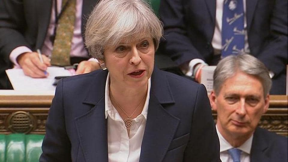 Britain's Prime Minister Theresa May speaks in Parliament as she announces that she has sent the letter to trigger the process of leaving the European Union in London, March 29, 2017.