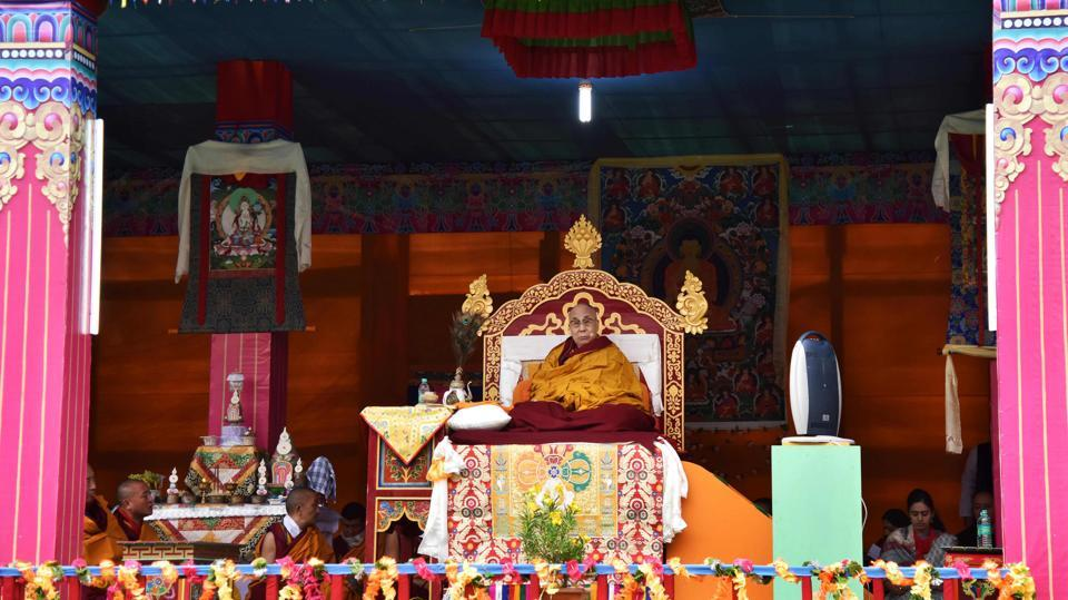 Exiled Tibetan spiritual leader the Dalai Lama delivers religious teachings to Buddhist followers at the Buddha Stadium in Bomdila. (Biju BORO / AFP)