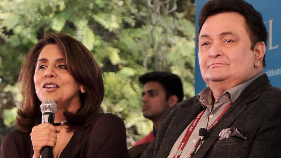 Bollywood actor-couple Rishi Kapoor and Neetu Kapoor during the Jaipur Literature Festival at Diggi Palace in Jaipur recently. Kapoor has commented on the absence of Pakistani cricketers from Indian Premier League T20
