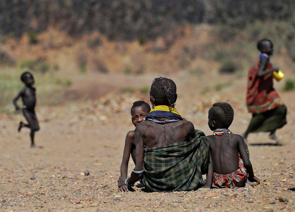 As the drought bites, the road ahead looks longer than ever for Turkana: some 92 percent of its 1.4 million people live below the poverty line and only a fifth know how to read and write, a figure four times lower than the national average. Three million people are in need of emergency humanitarian assistance, and, while the response has been more effective than the last time, in 2011, still more needs to be done, aid workers say. (TONY KARUMBA / AFP)