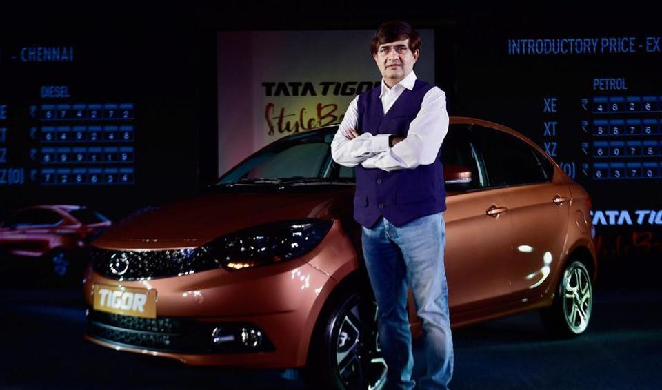 Mayank Pareek, Tata Motors president of passenger vehicle business unit, at the launch of Tata Tigor in Chennai on Wednesday.