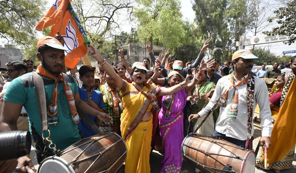 BJP workers during the nomintation for MCD elections. Nominations of the party candidates were rejected in 8 wards, of which four wards were those from where even the back-up candidate lost nomination.