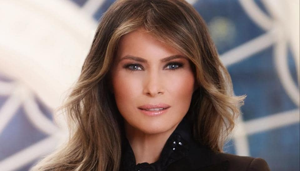 In this photo provided by the White House, first lady Melania Trump in her first official portrait at the White House in Washington.