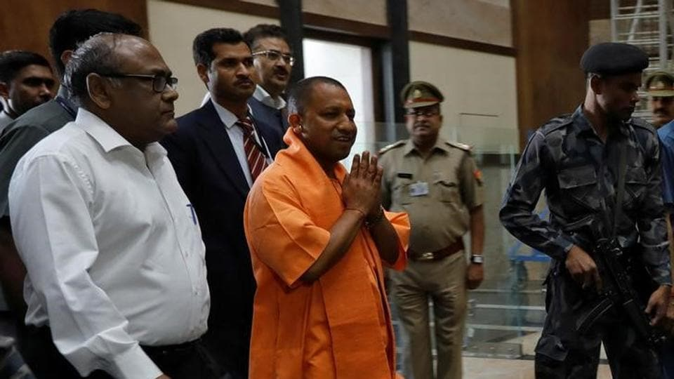 Yogi Adityanath, newly appointed chief minister of Uttar Pradesh, arrives to attend a meeting with government officials at Lok Bhavan in Lucknow on March 20.