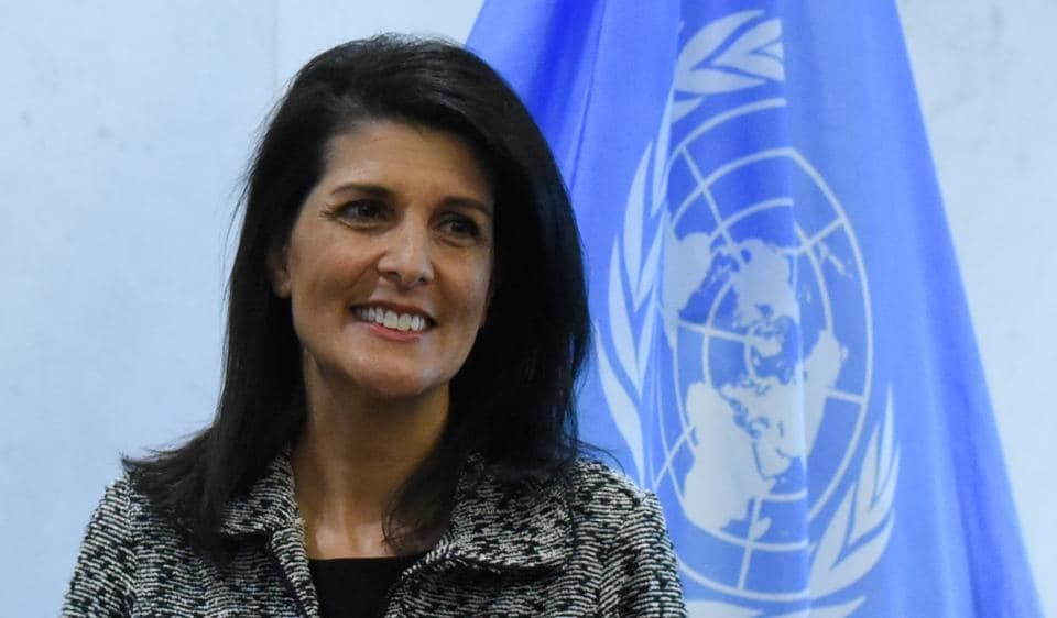 "Newly appointed U.S. Ambassador to the United Nations Nikki Haley. UN has expressed ""deep regret"" at the US' decision to cut financial support for the United Nations Population Fund."