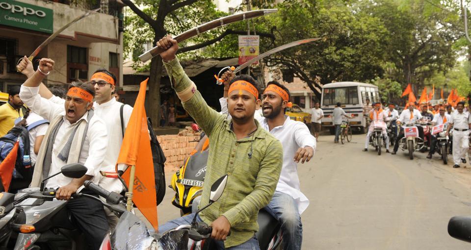 Hindutva groups took out a procession on the occasion of Ram Navami, Kolkata, April 5