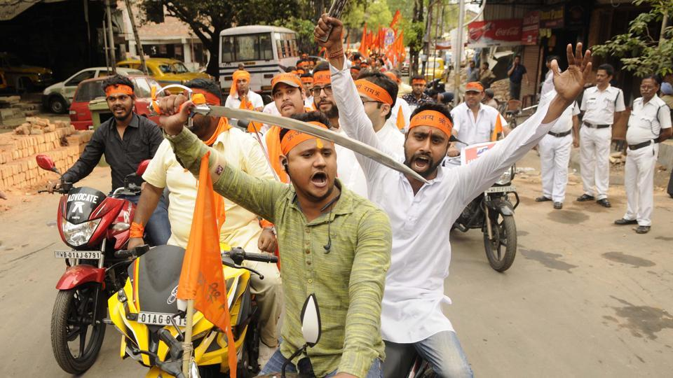 Hindu organisations took out processions on the occasion of Ram Navami in Kolkata.
