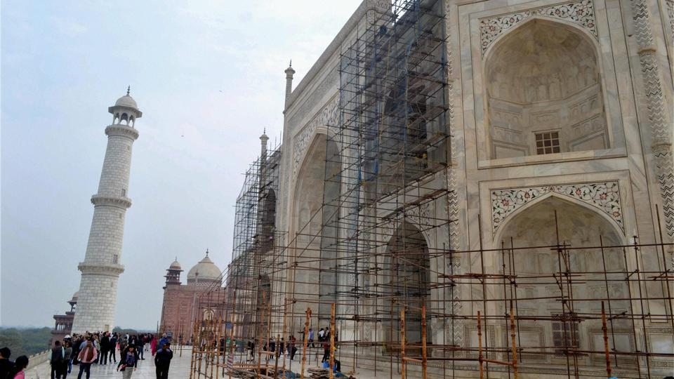 Archaeological Survey of India conducting restoration work at Taj Mahal in Agra.