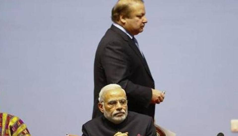 India's Prime Minister Narendra Modi and Pakistan's Prime Minister Nawaz Sharifat the opening session of 18th South Asian Association for Regional Cooperation (SAARC) summit in Kathmandu November 26, 2014.
