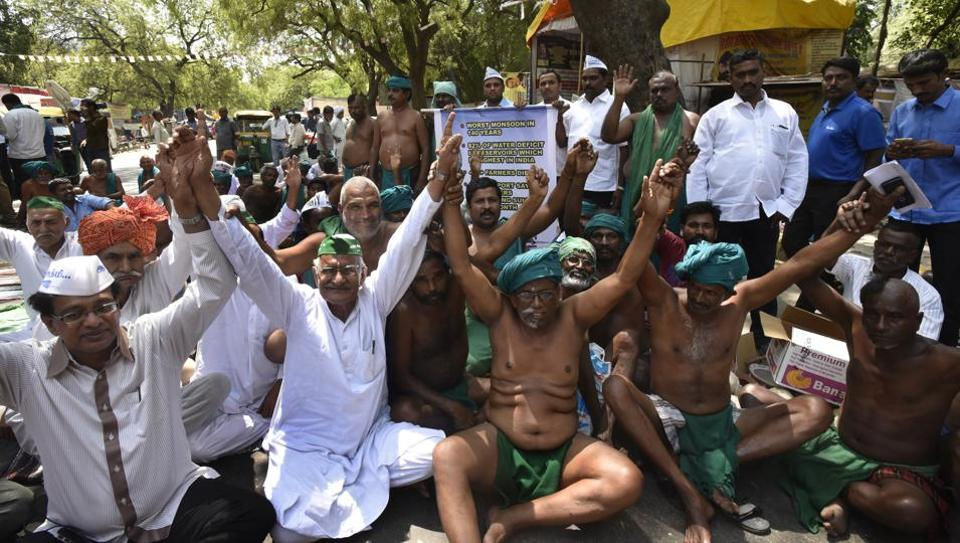 Farmers from Tamil Nadu during their strike at Jantar Mantar in New Delhi.