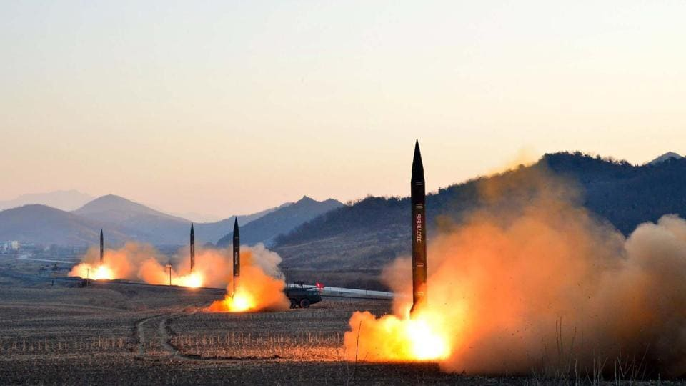 This undated picture released by North Korea's Korean Central News Agency (KCNA) via KNS on March 7, 2017 shows the launch of four ballistic missiles by the Korean People's Army (KPA) during a military drill at an undisclosed location in North Korea. Nuclear-armed North Korea fired a ballistic missile into the Sea of Japan on April 5, 2017.
