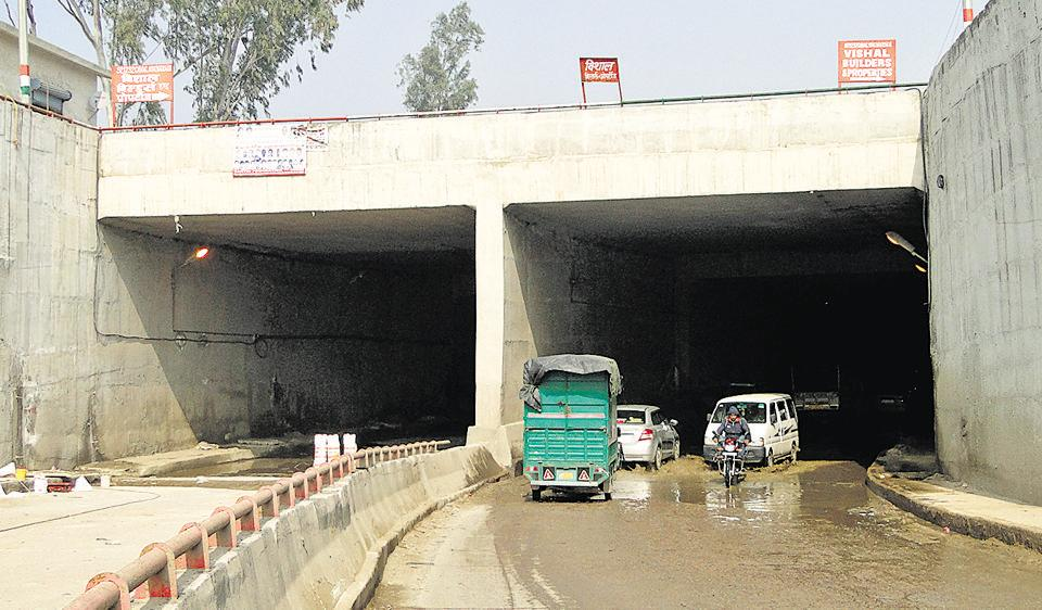 Newly-constructed underpass on Rani Khera Road in Mundka.