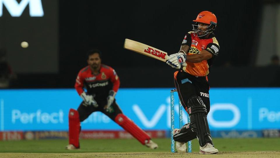 Shikhar Dhawan of the Sunrisers Hyderabad during match 1 of the Vivo 2017 Indian Premier League between the Sunrisers Hyderabad and the Royal Challengers Bangalore.