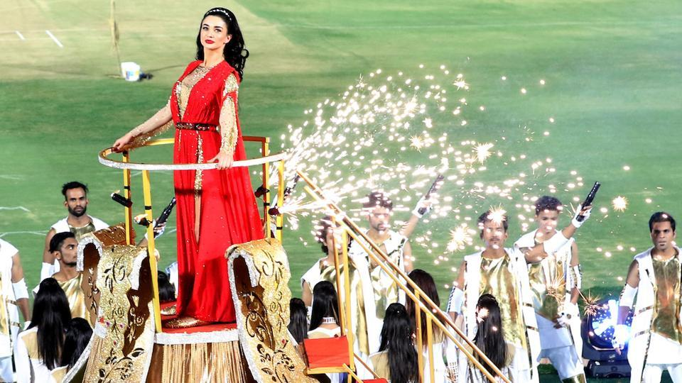 Bollywood actress Amy Jackson performing during the opening ceremony. (BCCI)