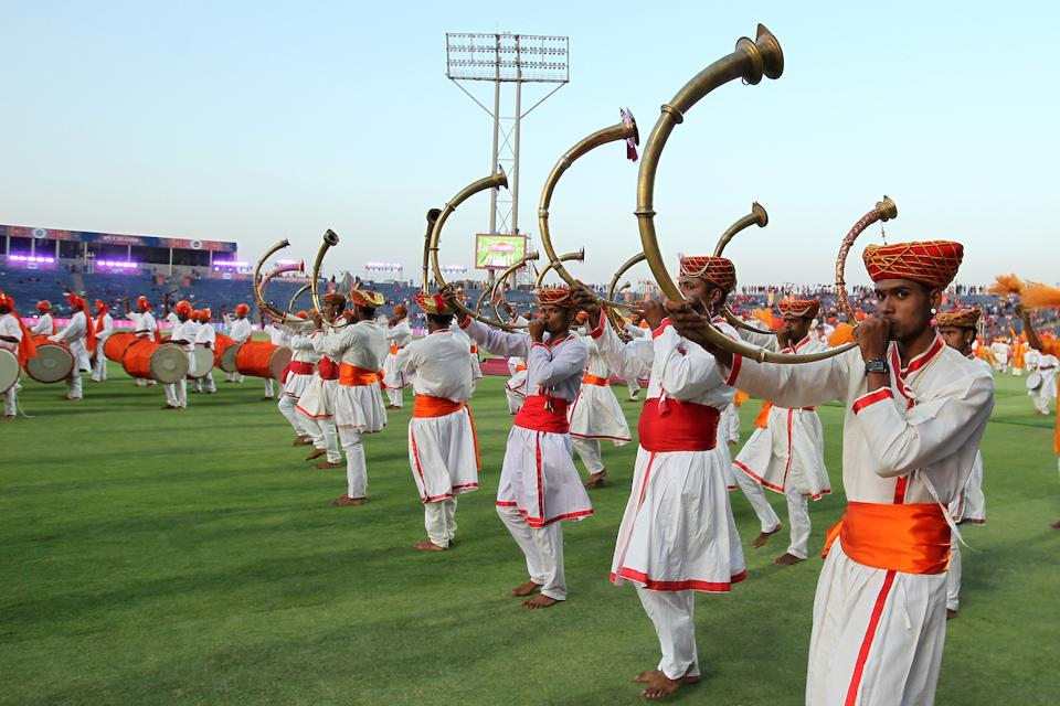 Artists perform to traditional beats at the MCA Stadium. (BCCI)