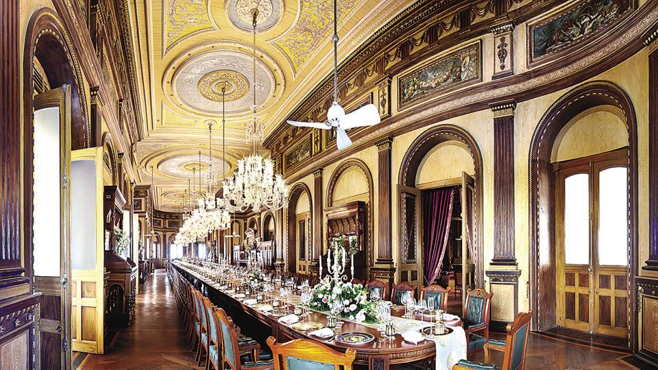 The Taj Falaknuma Palace, Hyderabad, is famous for the 101 Dining Table which, by some accounts, is the largest dining table in the world