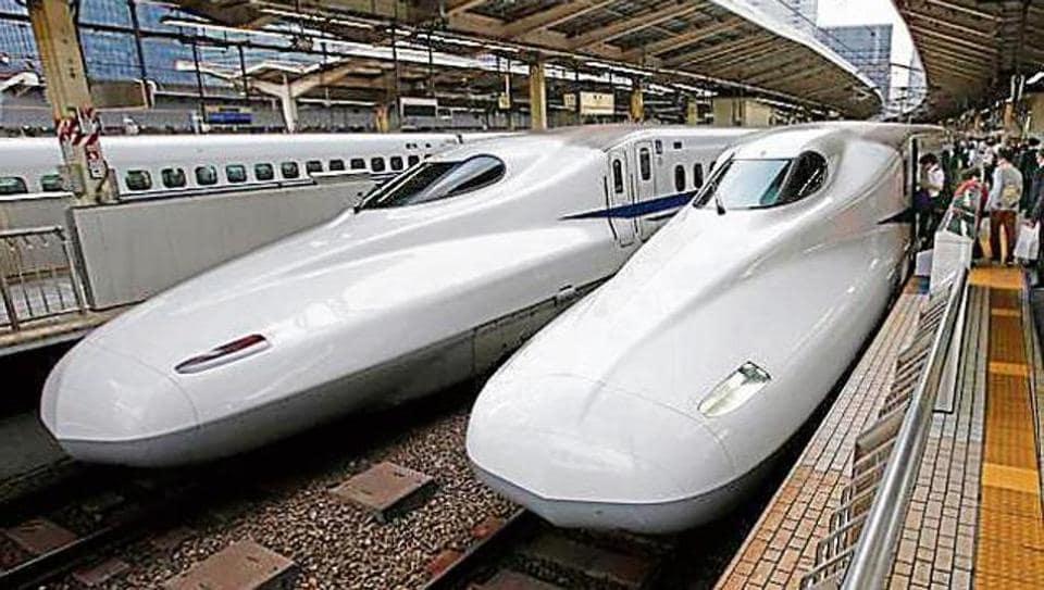 The Shinkansen high-speed train at Tokyo station in Tokyo. The Ahmedabad-Mumbai train will be modelled on the Shinkansen.