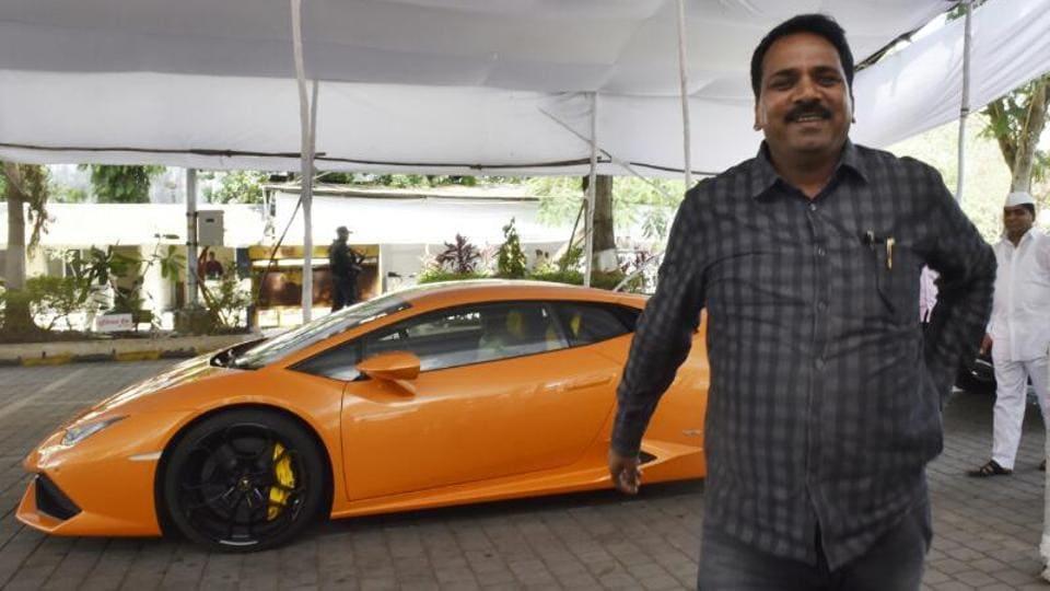 BJP MLA Narendra Mehta along with the Lamborghini outside Vidhan Bhavan  on Thursday.