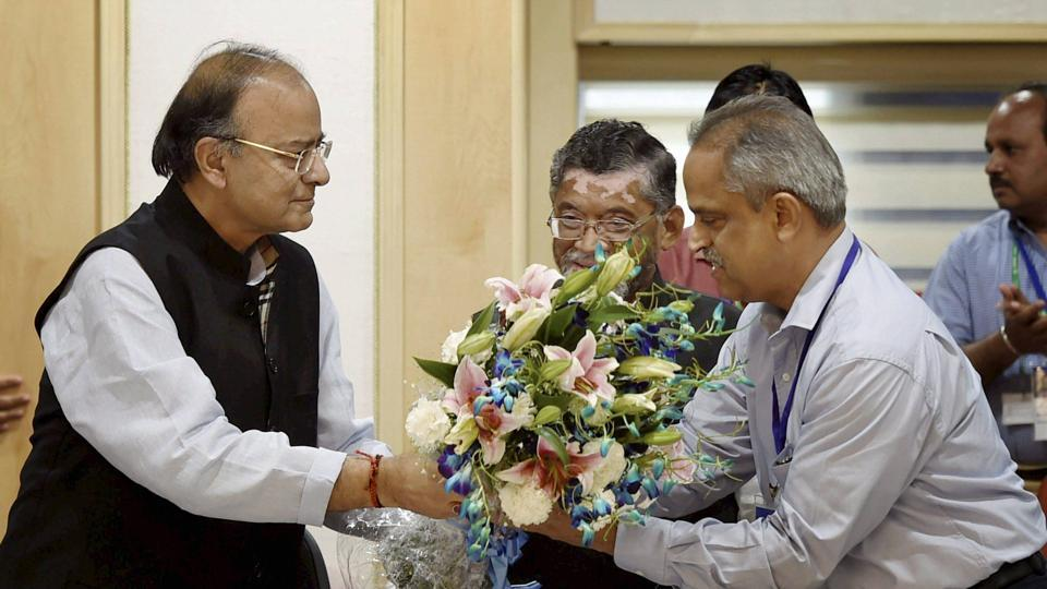Union finance minister Arun Jaitley with CBECchairman Najib Shah after the 13th GST Council Meeting at Vigyan Bhawan in New Delhi on March 31, 2017.