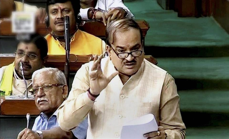 Parliamentary Affairs minister Ananth Kumar speaks in the Lok Sabha in New Delhi.