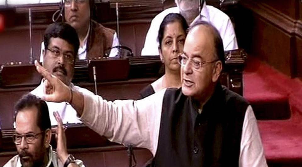 New Delhi: Finance Minister Arun Jaitley speaks in the Rajya Sabha in New Delhi on April 6.