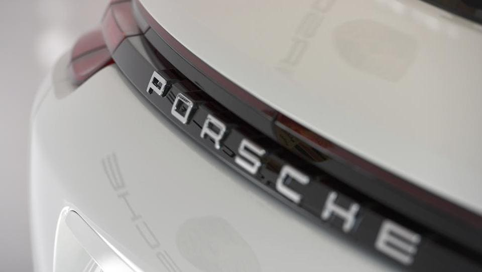 The logo of German carmaker Porsche AG is seen before the company's annual news conference in Stuttgart, Germany.