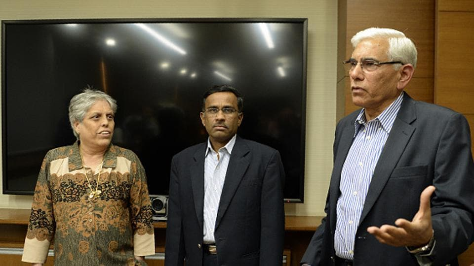 Chariman of BCCI Committee of Administrators (CoA), Vinod Rai (R) and members Diana Edulji (left) and Vikram Limaye (file pic). The CoA has written to all state units to clarify the eligibility of participants to any BCCI meeting, and also put out directions on the BCCI website, listing out details on day-to-day functioning.